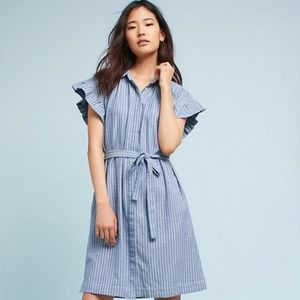 Anthropologie Flutter Sleeve Pinstripe Shirt Dress